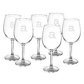 Personalized White Wine Glasses, Set of Six