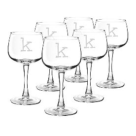Personalized Red Wine Glasses, Set of Six