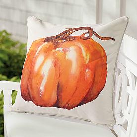 Watercolor Short Stem Pumpkin Pillow