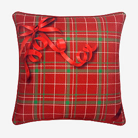 Holiday Ribbon Plaid Pillow