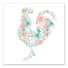 Spring Floral Canvas, Rooster