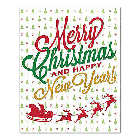 Merry Christmas & New Year Canvas Wall Art