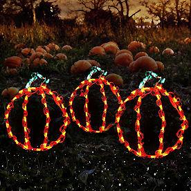Pre-Lit LED Mini Pumpkins, Set of Three