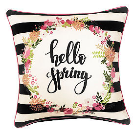 Hello Spring Striped Pillow