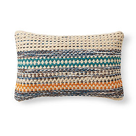 Magnolia Home Orange and Blue Lumbar Pillow