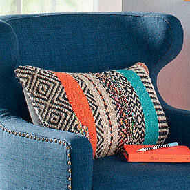 Boho Stripe Lumbar Pillow