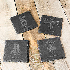 Personalized Insect Slate Coasters, Set of Four