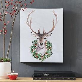 Reindeer with Wreath Canvas