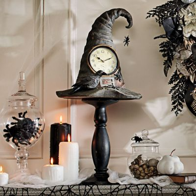 witch hat pedestal clock grandin road - Grandin Road Halloween