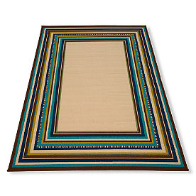 Cayman Multi Border Natural Outdoor Rug
