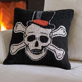 Top Hat Skull Halloween Hook Pillow