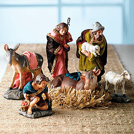 Nativity Shepherds and Animals, Set of Six