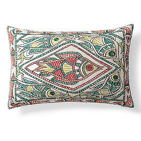 Embroidered Fish Throw Pillow