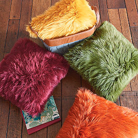 Vibrant Faux Fur Pillow