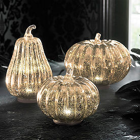 Mercury Glass LED Pumpkins, Set of Three