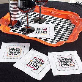 Wine and Witches Cocktail Napkins, Set of Four