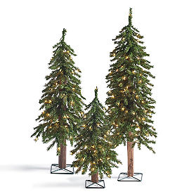 Pre Lit Evergreen Alpine Tree, Set of Three