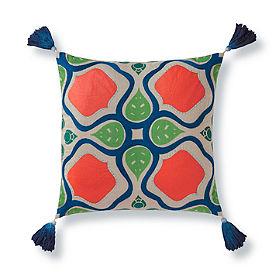 Verde Blue Tassel Pillow