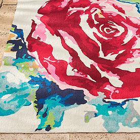 Watercolor Rose Outdoor Rug