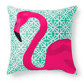 Pretty in Pink Flamingo Outdoor Pillow