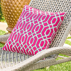 Pretty in Pink Geometric Outdoor Pillow