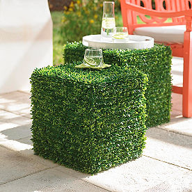 Nested Faux Boxwood Side Tables, Set of Two