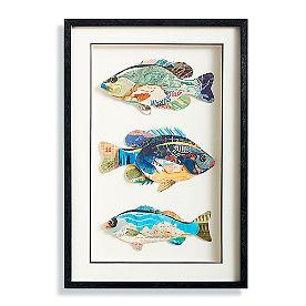 Three Fish Collage Wall Art