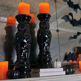 Black Owl Candle Holders, Set of Two