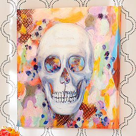 Happy Go Spooky Skull Canvas