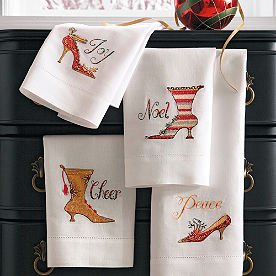 Set of Four Holiday Shoe Hand Towels