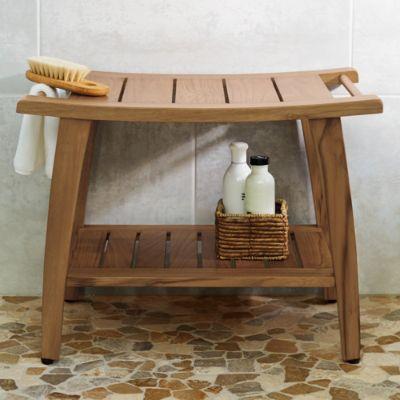teak shower bench  grandin road, Home decor