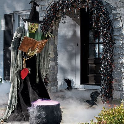 life size spell casting witch animated figure grandin road - Witch Decorations