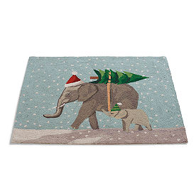 Elephants Winter Wonderland Rug