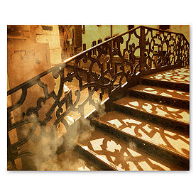 Rustic Staircase Framed Canvas Print