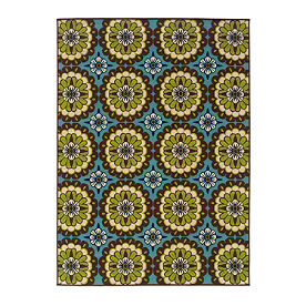 Cayman Daisy Blue Outdoor Rug