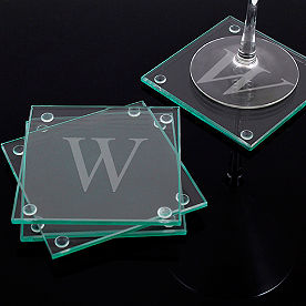 Set of Four Personalized Glass Coasters