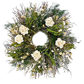 Glen White Rose Wreath