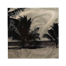 Monochrome Palms Metal Art