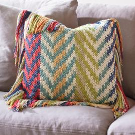 Fringed Chindi Throw Pillow |