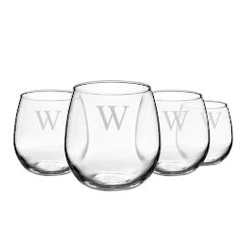 Personalized Stemless Wine Glasses, Set of Four |