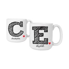 Personalized Initial Coffee Mugs, Set of Two