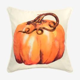 Watercolor Long Stem Pumpkin Pillow