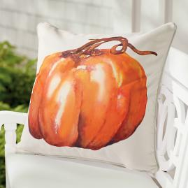 Watercolor Short Stem Pumpkin Pillow