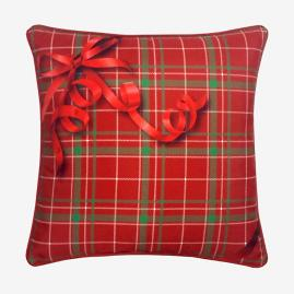 Holiday Ribbon Plaid Pillow |