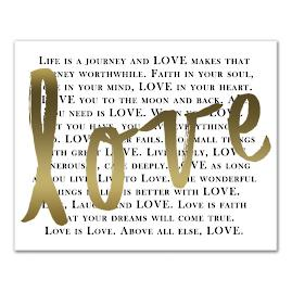 """Gold """"Love"""" Canvas"""