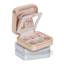 Luna Metallic Faux Leather Jewelry Case