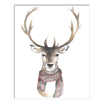 Reindeer With Scarf Canvas Wall Art Grandin Road