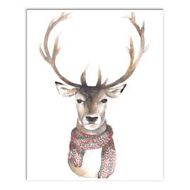 Reindeer with Scarf Canvas