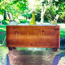 """Live Love Wine"" Wooden Trough"