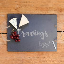 """Cravings"" Slate Serving Board with Chalk"